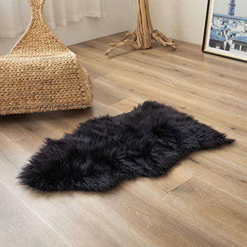 Super Soft Black Faux Fur Area Rugs, Fuzzy Fluffy Sheepskin Chair Seat Cover, Shaggy Furry Floor Mat, Carpet for Nursery...