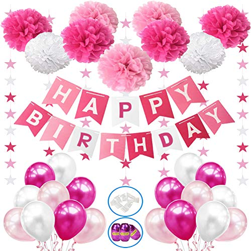 Hook Deko Geburtstag Geburtstagsdeko Mädchen, Happy Birthday Girlande Ballon, Kindergeburtstag Deko, Party Deko mit 18pc Ballon,9er Pompoms, Wimpelkette Dekoration Erster Geburtstag, Luftballons Rosa