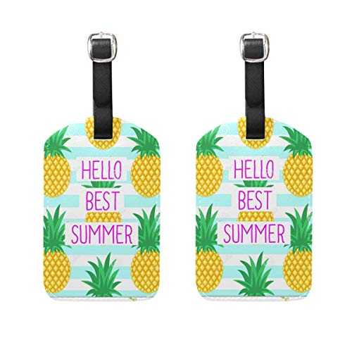 zhurunshangmaoGYS Luggage Tags HELLO BEST SUMMER Mens Tag Holder Kids Bag Labels Traveling Accessories Set Of 2
