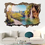 Paisaje paisaje natural etiqueta de la puerta 3D pared rota vinilo mural paisaje papel tapiz