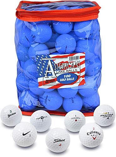 Second Chance 100 Lake Golfbälle und PVC Aufbewahrungstasche, roter und Blauer PVC Bag