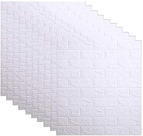 3D Backstein Wandaufkleber PE Schaum Selbstklebende Tapete Peel and Stick 3D Kunst Wandpaneele für Wohnzimmer, Schlafzimmer, Bar, TV-Wand, Büro (Color : White, Size : 20 Piece)