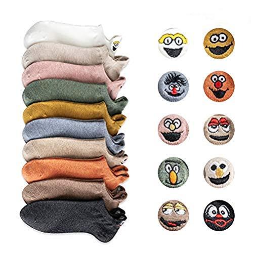 KongK Cartoon Stickerei Ausdruck Smiley Socken Männer und Frauen Paar Candy Farbe Student Invisible Boat Dünne Socken Zufällige Farbe (10 Paare)