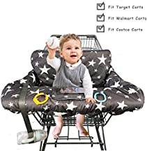 Shopping Cart Cover for Baby, 100% Cotton Sitting Area, with Bottle Strap and 6.5