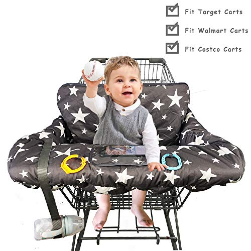 Shopping Cart Cover for Baby Cotton, with Bottle Strap and 6.5' Cell Phone Holder Toddler 2-in-1...