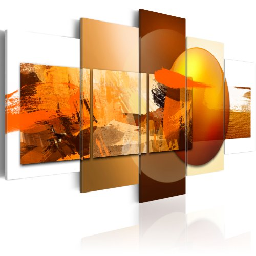 murando Quadro Astratto 225x112 cm 5 pezzi Stampa su tela in TNT XXL Immagini moderni Murale Fotografia Grafica Decorazione da parete orange giallo bianco marrone 020101-84