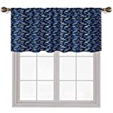 Fishes Valences para ventana de 137 x 45 cm, siluetas de animales de acuario en Winow cenefa cortinas azul marino