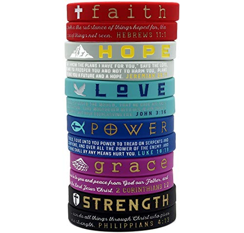 (12-Pack) Christian Inspirational Bible Bracelets, Variety Pack - Faith Hope Love Power Grace Strength - Wholesale Pack of 1 Dozen Silicone Rubber Wristbands in Bulk for Religious Gifts Party Favors