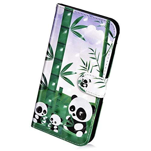 Herbests Kompatibel mit Samsung Galaxy A8 2018 Handyhülle Hülle Flip Case Bunt Glitzer Muster Leder Schutzhülle Klappbar Bookstyle Lederhülle Ledertasche mit Magnet Kartenfach,Cool Panda