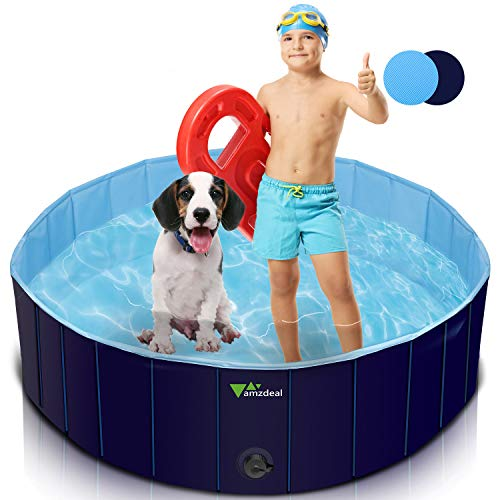 amzdeal Foldable Dog pet Swimming Pool for Large Dogs - 100% PVC, Anti-Slip Portable Dog Pet Pool Outdoor Bathing Tub, Collapsible Kiddie Pool for Dogs Cats and Kids