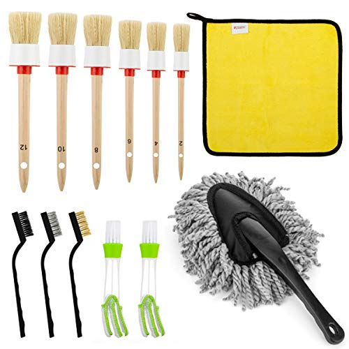 13 Pcs Car Detailing Brush Set for Cleaning Auto Interior - Including 6 pcs Detail Brush, 3 pcs Wire Brush, 2 pcs Automotive Air Conditioner Brush, Car Duster Brush & Cars Drying Towels