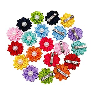 PET SHOW 10pairs Flower Small Dogs Hair Bows with French Barrette Hair Clips Cat Puppy Party Birthday Grooming Hair Accessories 10 Colors