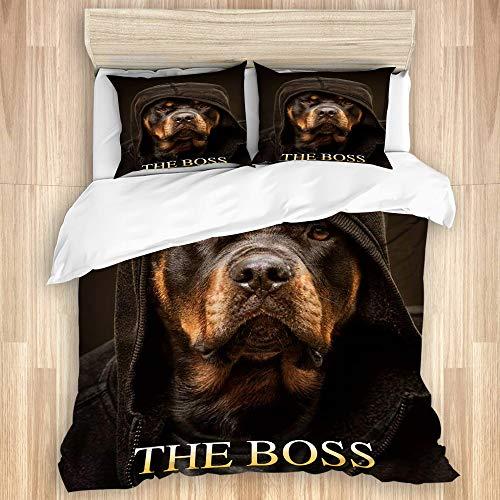 LISNIANY Bettwäsche Set,Rottweiler 'The Boss' Design von Zilly Tees,1 Bettbezug 240x260cm+2 Kopfkissenbezug 80x80cm