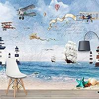 Iusasdz 航空機の帆の背景の壁の海の壁紙150X120Cm