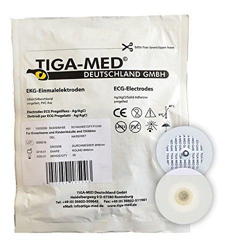 EKG Elektroden mit Nassgel/Liquidgel 48 mm 300 Stück Einmalelektroden Einmal- Klebe- Elektroden Typ: Tiga-Med Profi-Qualität!