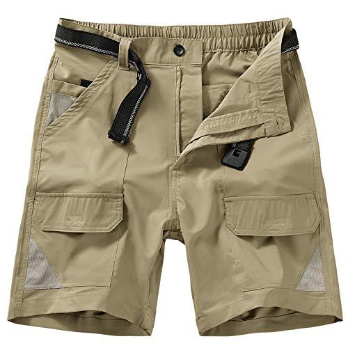 Jessie Kidden Men's Outdoor Sport Casual Elastic Waist Lightweight Water Resistant Quick Dry Cargo Fishing Hiking Shorts (6018 Khaki 34)