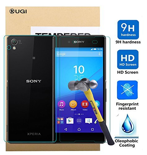 Sony Xperia Z3+ Screen protector, KuGi Ultra-thin 9H Hardness HD clear Premium Tempered Glass Screen Protector for Sony Xperia Z3+ / Z3 plus smartphone (Front and Back)