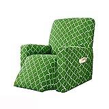 LVLUOKJ Jacquard Cubierta Protector para Sillón Elástica Antideslizante Funda de sillón con Bolsillo Lateral (Color : Grass Green)