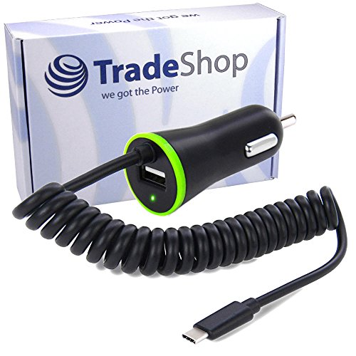 Trade-Shop KFZ Auto Schnell-Ladekabel Ladegerät USB 3.1 Typ C 2,1A Anschluss mit zusätzlichem USB Port und 120cm Spiralkabel für Motorola Moto Z2 Play Nextbit Robin Nubia Z11, Z11 Max, Z11 miniS