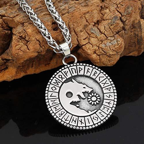 Serired Collar Lobo Nórdico Acero Inoxidable para Hombres/Mujeres, Símbolo Vikingo Corre Amuleto Colgante de Moneda Redonda Cadena de 24 Pulgadas, Joyería Gótica Pagana Celta,Yin Yang Wolf