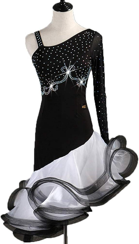 Women Latin Dance Dress Rumba Samba Skirts Competition Dancewear Girls Leotard Performance Suit with Rhinestone