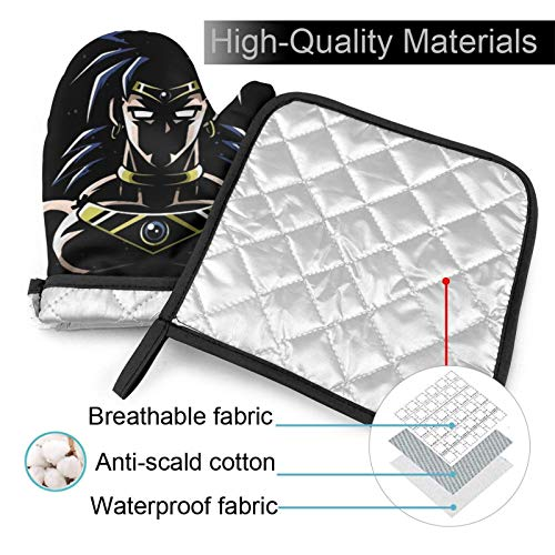 Dragon Ball Z Broly in The Shadows Heat Resistant Oven Mitts and Pot Holder Kitchen Cooking Baking BBQ Griling Gloves Sets