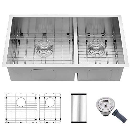 32 Undermount Kitchen Sink Double Bowl -SOMRXO 32x18 Inch Stainless Steel Kitchen Sink Undermount 16 Gauge 60/40 Double Bowl Kitchen Sink with Bottom Grid & Strainer