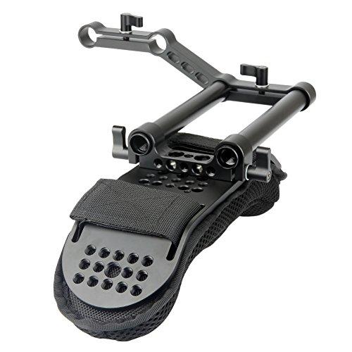 [Update Version] NICEYRIG Kamera Schulterpolster mit 15mm Railblock und Aluminiumlegierung Ruten für DSLR Video Camcorder Schulter Stützsystem