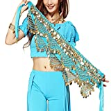 Wuchieal Women's Sweet Bellydance Hip Scarf with Gold...