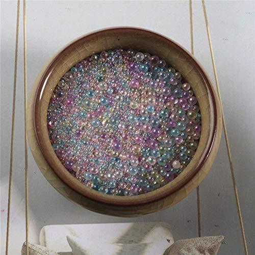 Perlas de semilla de cristal transparente para manualidades, mezcla sin agujeros, burbujas de aire, cuentas de arte de uñas, joyería para manualidades, material de 10 g/bolsa