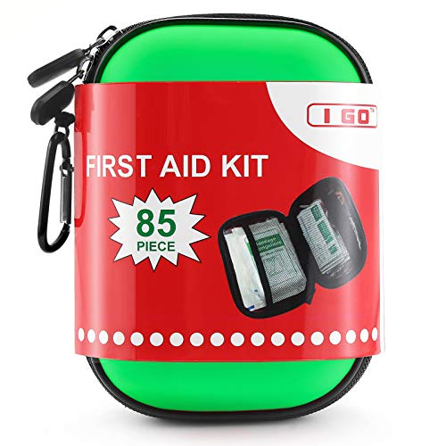 I GO 85 Pieces Hard Shell Mini Compact First Aid Kit, Small Personal Emergency Survival Kit for Travel Hiking Camping Backpacking Hunting Marine Car, Green
