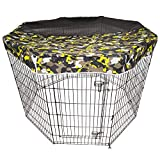 Dog Playpen Camouflage Mesh Top Sun Proof Kennel Cover, Prevent Escape, Provide Shelter and Security for Pets, Fits 24 Inch Wide Pen with 8 Panels-Playpen Not Include!