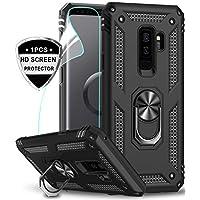 LeYi Funda Samsung Galaxy S9 Plus Armor Carcasa con 360 Anillo iman Soporte Hard PC y Silicona TPU Bumper antigolpes Fundas Carcasas Case para movil Samsung S9 Plus con HD Protector de Pantalla,Negro