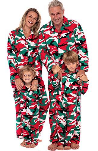 Alexander Del Rossa Men's Warm Flannel Button Down Pajamas, Long Cotton Pj Set, LT Christmas Camouflage - Mens (A0473N26LT)