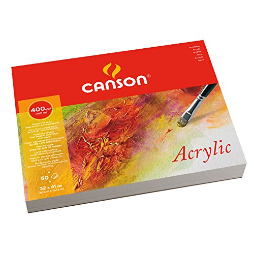 Canson Acrylic - Bloc papel de dibujo, 32 x 41cm, color blanco natural