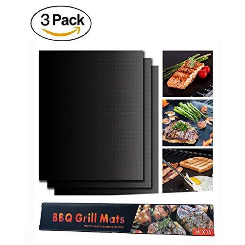 Kuke Grill Mat Set van 3-100% Non-stick BBQ Grill & Baking Mats - FDA-goedgekeurd PFOA gratis, herbruikbaar en gemakkelijk te reinigen - Werkt op gas, houtskool, elektrische grill en meer - 15.75x12.99 inch 15.75x12.99 inch Zwart