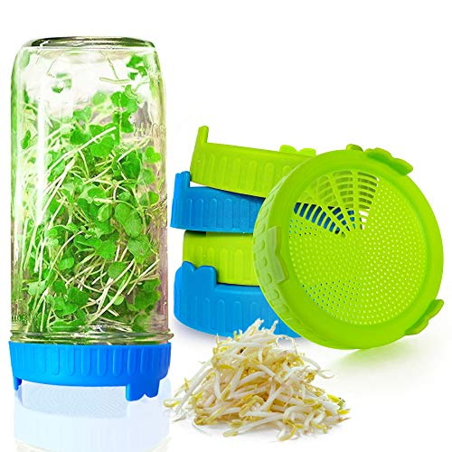 Sprouting Lids for Wide Mouth Mason Jars, Easy Rinse and Drain Plastic Sprouting Strainer Screen for Growing Bean Sprouts, Broccoli, Alfalfa, Salad Sprouts - 6 PCS