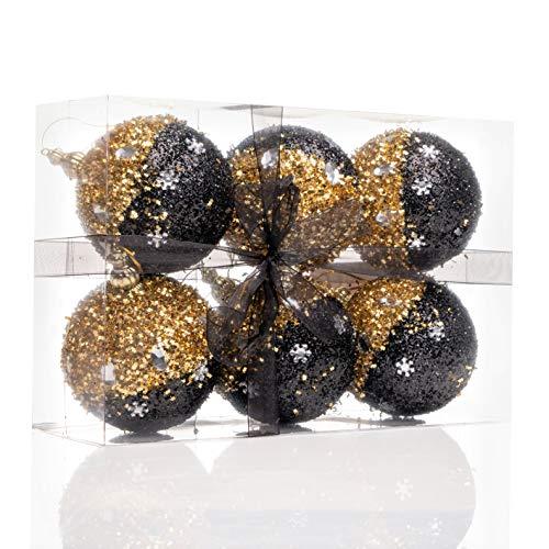 Nataland Confezione 6 Palline Natalizie Oro e Nero Diametro 9 Cm Decorate A Mano, Box Sfere Perfette Come Addobbo e Decoro per Albero di Natale e Casa (6 Sfere - 9 Cm, Modello 1)