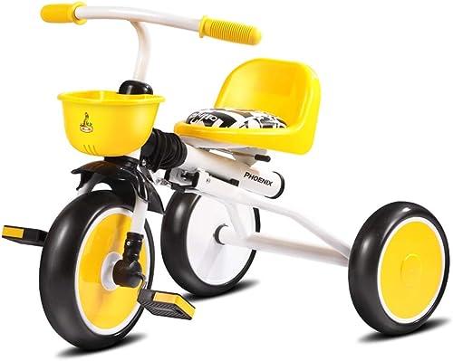Kinder Dreirad Kinderwagen Fahrrad Kinderwagen 1-5 Jahre alt Falten tragbare Baby Fahrrad (Farbe   Gelb)