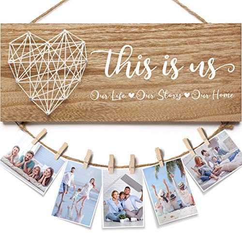 Housewarming Gifts New Home Decor Sign, Family Photo Holder Farmhouse Rustic Hanging Picture Frame with 8 Clips, Gifts for Housewarming New Homeowners Couples-This Is Us Our Life Our Story Our Home