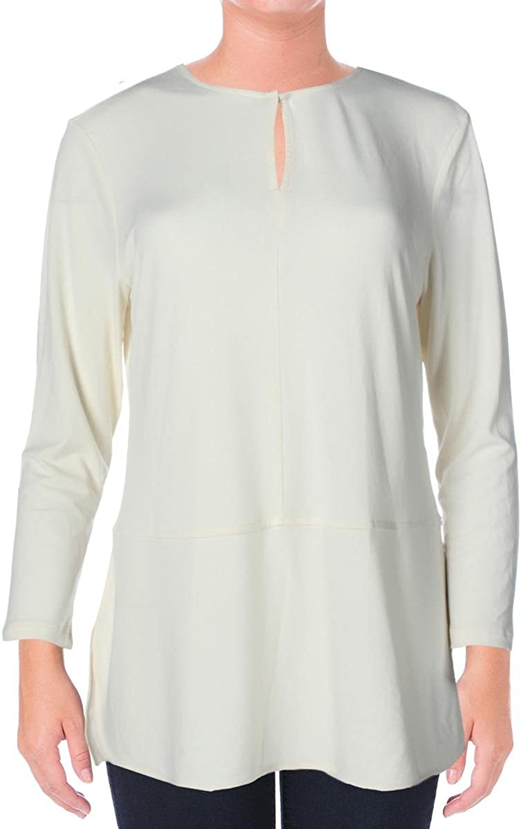 Lauren Ralph Lauren Womens Long Sleeves Stretch Pullover Top Ivory M