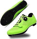 KUXUAN Fahrradschuhe Herren Rennrad Schuh mit SPD,Peloton Schuhe mit Buckle Delta Kompatibel für Indoor Riding Racing,Green-9.5 UK
