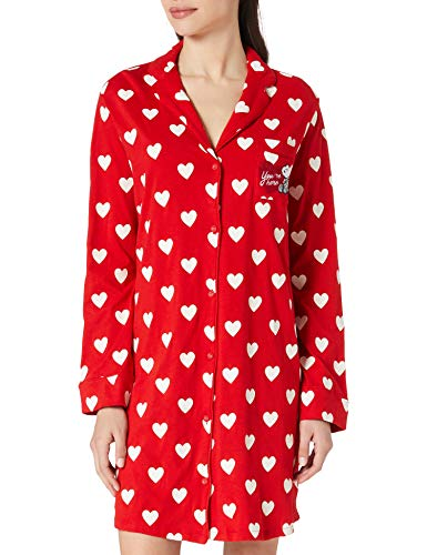 Women' Secret Camisón Manga Larga Estampado Lunares Camisola, Granate, L para Mujer