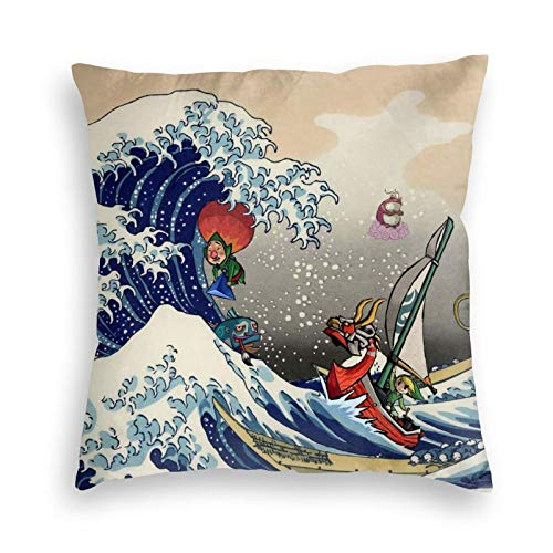 EOUNMSU Leg-end of Ze-lda Wind Waker Great Wave Breathable Decorations Pillowcase Microfiber Reversible Throw Cushions Covers for Dorm Bedroom Hotel Office 18x18 in
