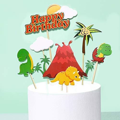 10 Pezzi Animale Torta Toppers, Decorazioni per Torte di Compleanno, kit Topper Torta Dinosauro, per Forniture per Feste di Compleanno per Bambini