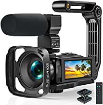 Video Camera 2.7K Camcorder, 1520P Ultra HD 36MP Digital YouTube Camera with Microphone and Remote Control Time-Lapse IR Night Vision 3.0 Inch Touch Screen, Vlogging Camera with Handheld Stabilizer
