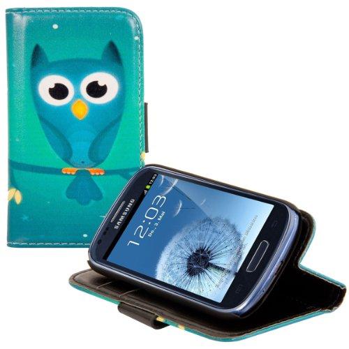 kwmobile Wallet Hülle kompatibel mit Samsung Galaxy S3 Mini i8190 - Hülle Kunstleder mit Kartenfächern Stand Eule Nacht Blau Türkis