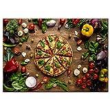 WANGZELINFBH Kreative Liebe Pizza Wanddekor Kunst Leinwand Realistische Organische Gemüse Dekorative Leinwand Gemälde Für Küche Wand Decor-70x100 cm Kein Rahmen