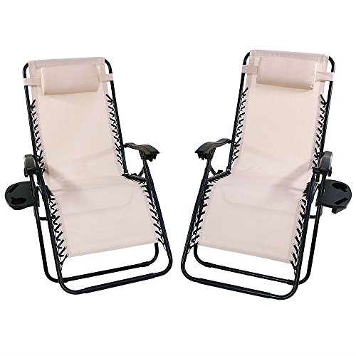 Sunnydaze Outdoor XL Zero Gravity Lounge Chair with Pillow and Cup Holder, Folding Patio Lawn Recliner, Beige, Set of 2