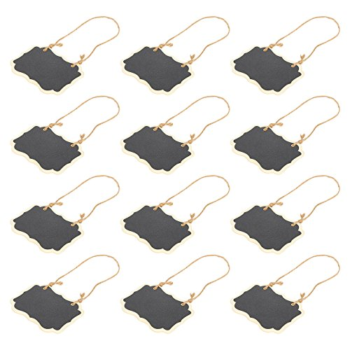 Mini Chalkboard Signs – 12-Pack Decorative Chalkboards Hanging Message Board for Weddings, Reminders, Party Decorations, Kids' Crafts, 3.5 x 2.25 inches